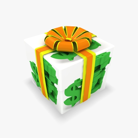 3d box with dollars texture Stock Photo