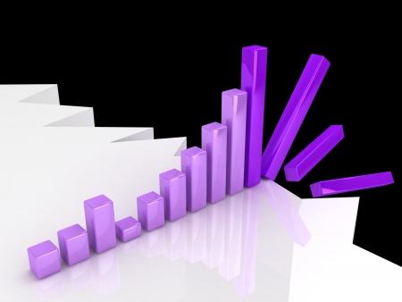 3d business graph falling