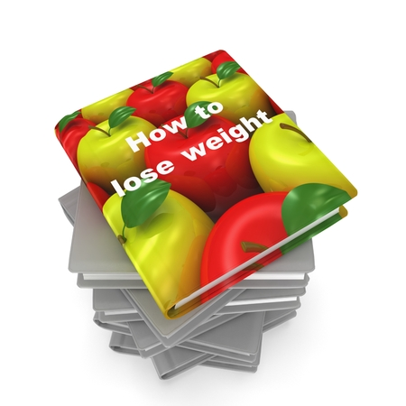 3d book with apple cover. Healthy life concept Stock Photo