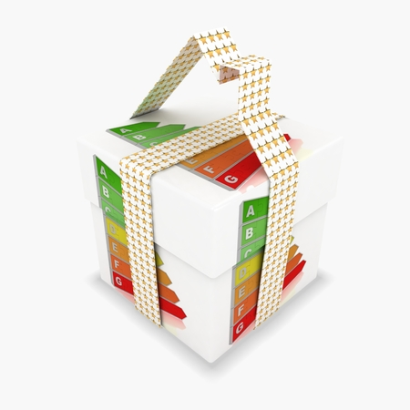 3d gift box with energy saving concept photo
