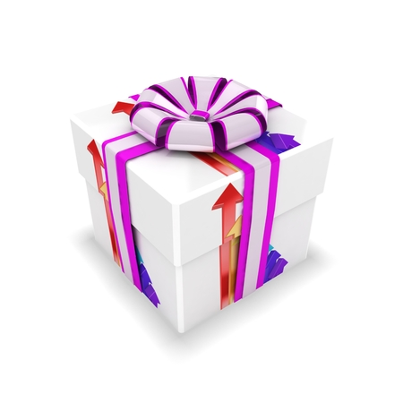 3d gift box with arrows Stock Photo