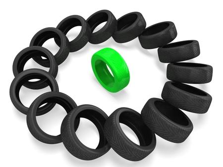 3d Wheel tires. Leader concept Stock Photo - 22732326
