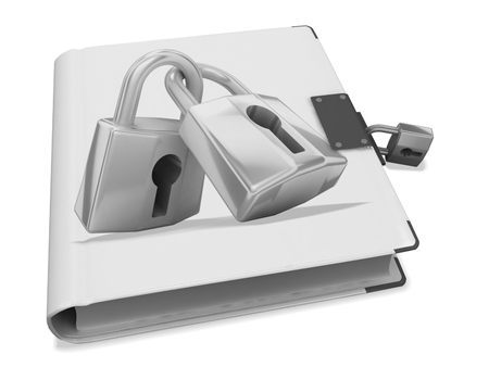 3d book with lock cover Stock Photo