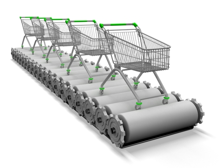 3d shopping carts on conveyor. photo