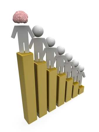 3d puppets on business graph. Leader concept