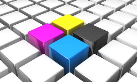 3d cmyk cubes