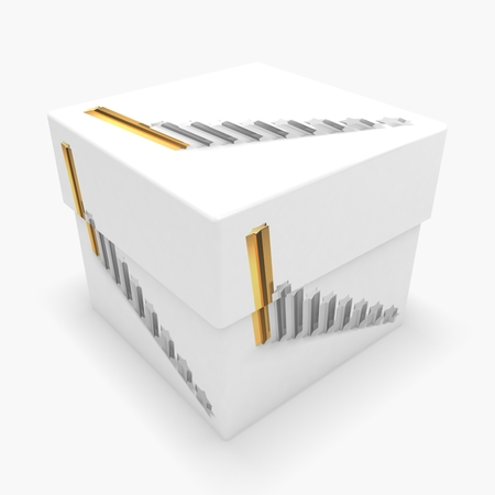 3d box with business graph