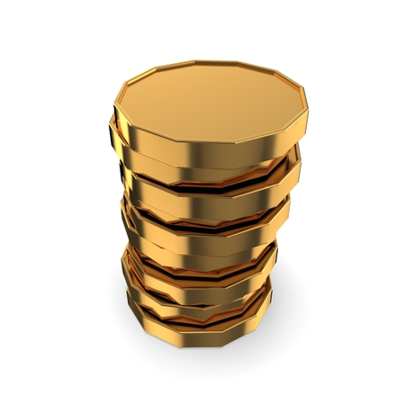 3d Gold tower made out of gold coins