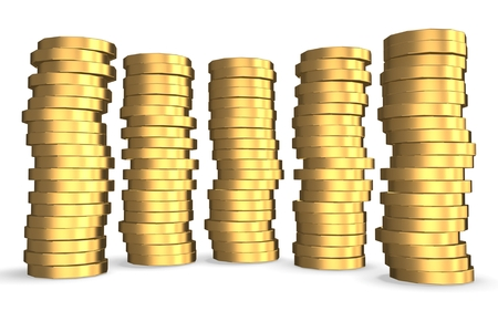 3d gold towers made out of gold coins