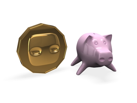 3d piggy bank with coin