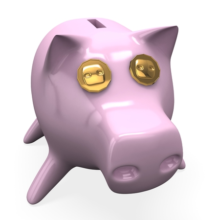 3d piggy bank with coins Stock Photo
