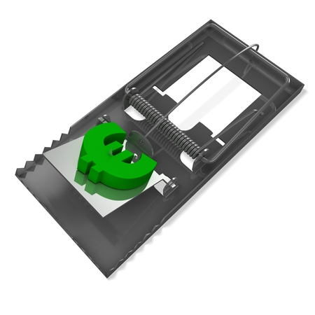 3d mousetrap with euro sign Stock Photo