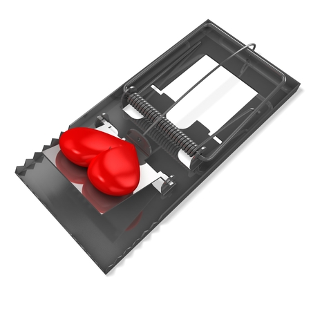 3d mousetrap with heart Stock Photo