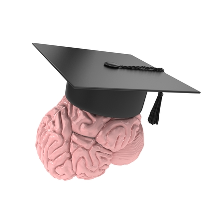 3d brain with graduation hat