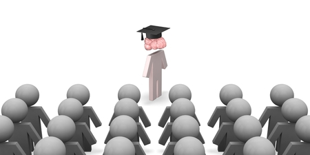 3d puppet with brain and graduation hat in crowd of stupid Stock Photo