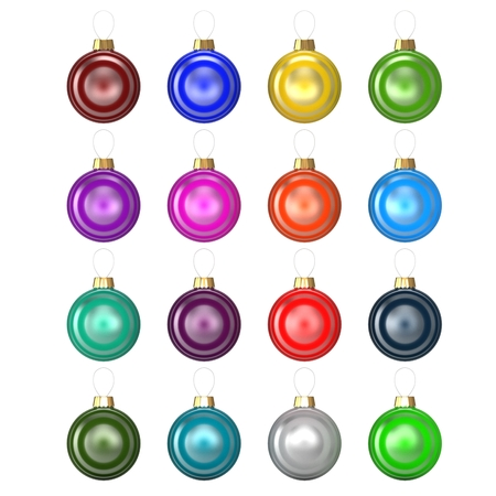3d Set of christmas baubles