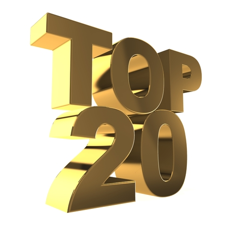 3d top 20 concept isolated on white Stock Photo