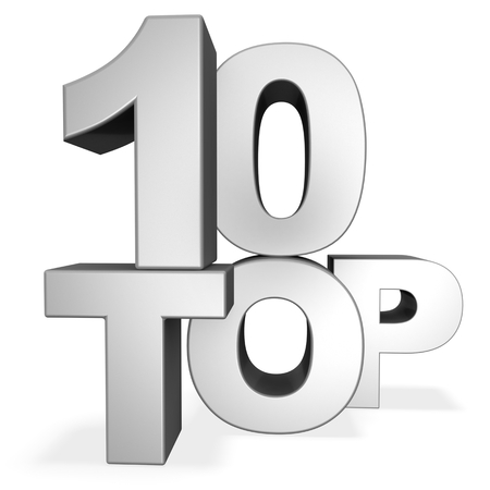 3d top 10 concept isolated on white Stock Photo