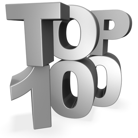 3d top 100 concept isolated on white