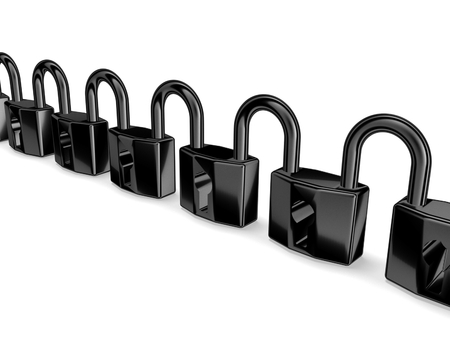 3d locks connected Stock Photo