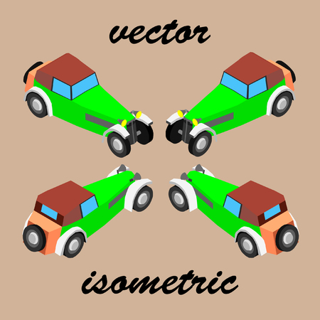 Retro car in isometric. Old two-seater car early 20th century. Ilustrace