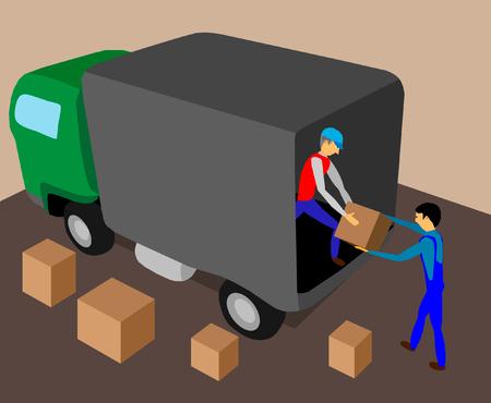 Deux travailleurs chargent le camion avec une illustration de la cargaison. Vecteurs