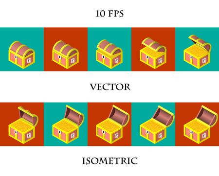 Animation of the isometric filled with gold coins. Vector illustration. Illustration