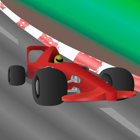 The racing car is riding at high speed along the highway.