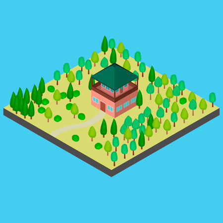 House in the forest for observation. In the vector and isometry.