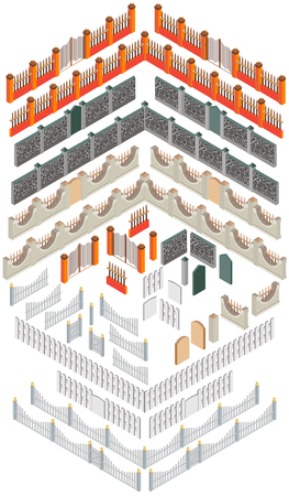 Set of different elements to create fences in the isometric view. With the help of vector elements, you can create at least 5 types of fences.