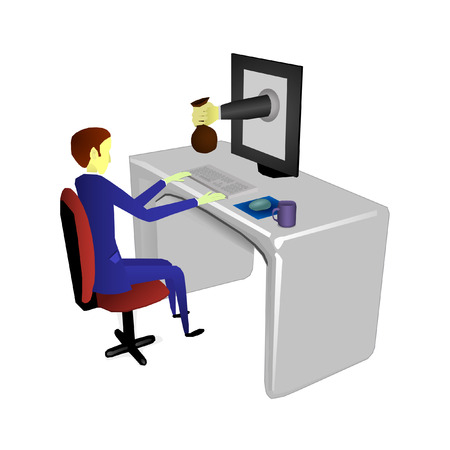 The freelancer receives a bag of money by hand through the monitor. Illustration