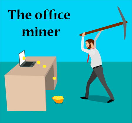 A businessman mines bitcoins using a laptop and a pickax. Bitcoins fall in the helmet.