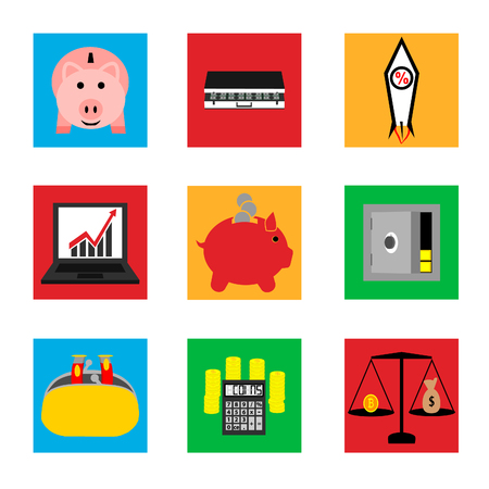 Icons on business and finance.
