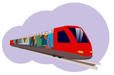 Hanging on hangers. A red high-speed train in the style of a flat carry clothes for fashion.