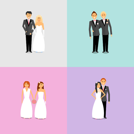 Couples with different sexual orientations. Men and women are at the wedding ceremony and are going to marry.