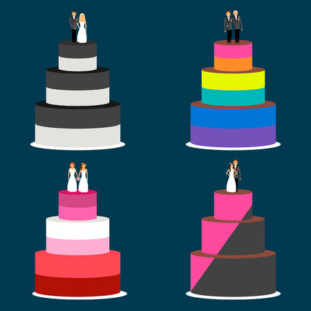Wedding cakes couples with different political and sexual orientation. The figures of the bride and groom stand on the cake.