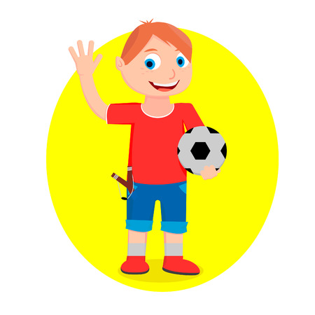 A boy in shorts and a T-shirt is holding a ball in his hand and greeting someone.