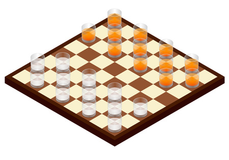 Chessboard and glasses with alcohol instead of pieces. Alcohol game in isometric, vector.