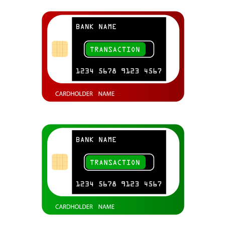Bank credit cards in a modern style. The credit cards show a white smartphone that generates a transaction. Ilustração