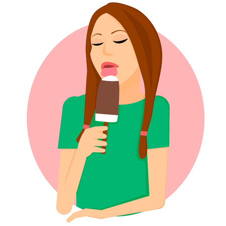 The girl licks ice cream on a stick. Vector illustration in the style of flat. Illustration