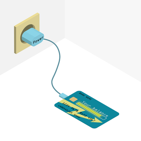 Credit card on charge. The credit card. Illustration