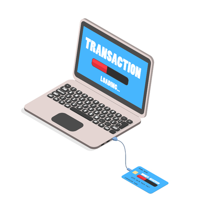 A credit card connected to a laptop. Abstract transfer of electronic money to the credit card. Ilustração