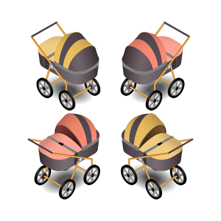Baby carriage in isometric. Original strollers for children in vector. Vectores