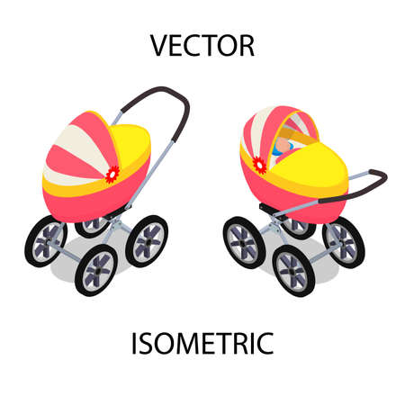 Bright baby stroller for summer walks. A baby carriage with a child in isometric view. Ilustración de vector