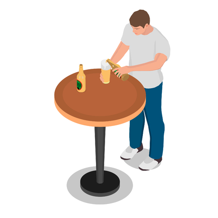 A man pours beer into a glass. A man is standing at a table drinking beer. Ilustração