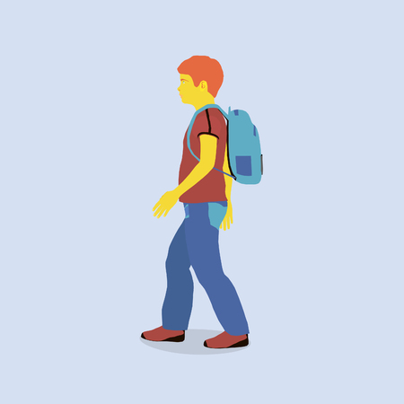 Redhead boy goes to school. The boy in the style of flat in bright colors.