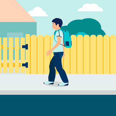 A boy with a backpack. The Boy in the flat style, vector.