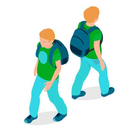 A boy is isometric in different angles. A teenager with a backpack is walking. Ilustração
