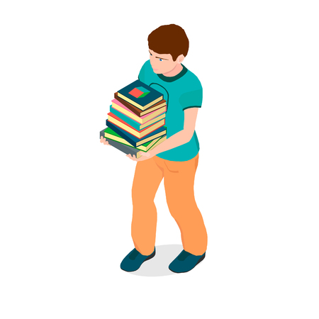 A boy with books in his hands. The boy is preparing to return to school and is in the hands of textbooks.