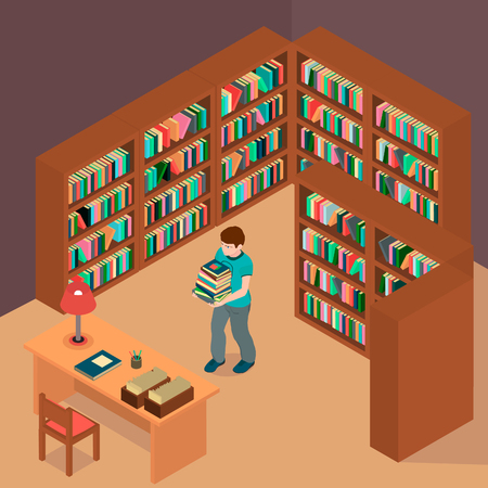 A boy chose books and waits for the librarian. The boy with books and a library in isometric and vector. Banco de Imagens - 120280540